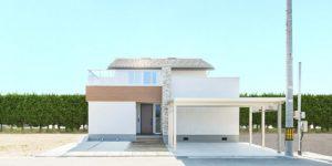 自然石と木が融合した空間の家